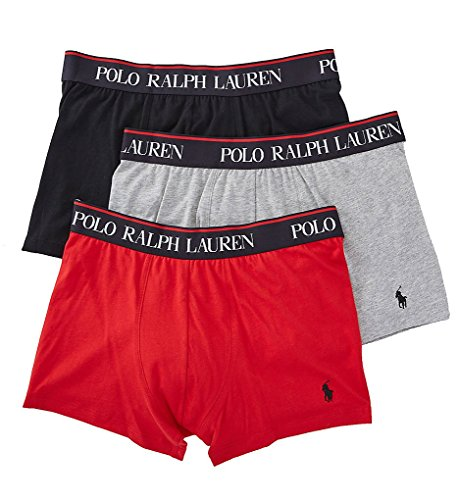 Polo Ralph Lauren Stretch Cotton Boxer Brief 3-Pack, L, Black / Red / Grey