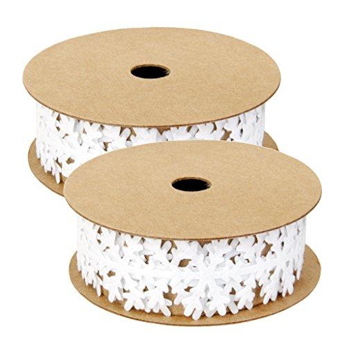 (MonkeyJack 2 Pieces White Vintage Snowflake Vine Lace Ribbon for Wedding Bridal Beauty 1m)