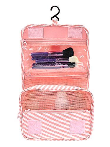 Portable Waterproof Travel Kit Toiletry Cosmetic Bag Hanging Hook for Men Women Pink Stripes