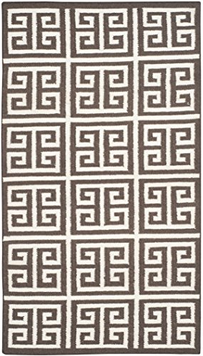 Safavieh Dhurries Collection DHU626C Hand Woven Brown and Ivory Premium Wool Area Rug (4' x 6') - Hand Woven Furniture