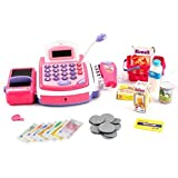 Pretend Play Electronic Cash Register Toy Realistic Actions & Sounds Pink Color: Pink, Model: , Toys & Play