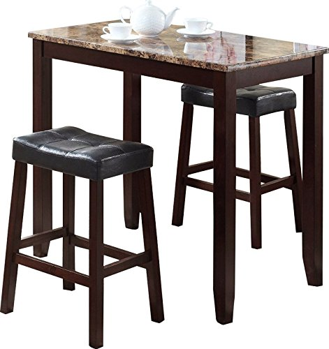 38' Cocktail Table (3 Piece Counter Height Pub Table Set Including Table and 2 Chairs Made of Wood and Faux Marble in Rich Espresso Color Upgrade Your Kitchen Room)