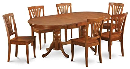 Amazoncom East West Furniture Wooden Oval Dining Table With - Wooden dining room table with 6 chairs