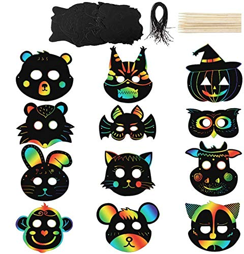 Koogel 30pcs Scratch Art for Kids,12 Kinds Rainbow Scratch Art Animal Masks Rainbow Magic Scratch Paper Scratch Art Paper for Childrens Painting Art Creation Painting Teaching