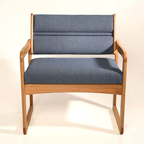 Sled Base Bariatric Office Guest Chair in Solid Oak w Light Finish (Powder Blue) by Wooden Mallet (Image #3)