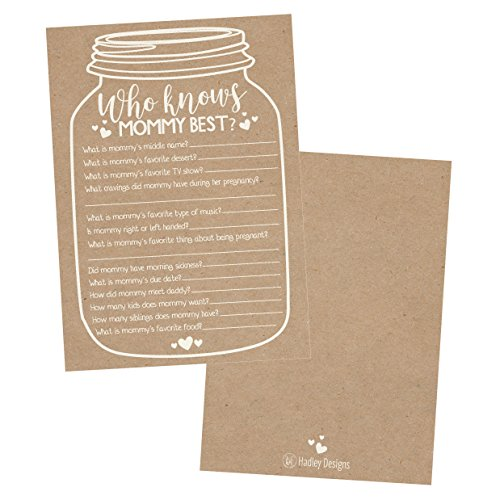 25 Rustic Mason Jar Baby Shower Games Ideas for Boys Or Girls, Fun Party Activities Who Knows Mommy Best Gender Neutral Reveal New Parent Guessing Funny Questions Pack Kids, Mom, Dad and Coed Couples by Hadley Designs (Image #5)