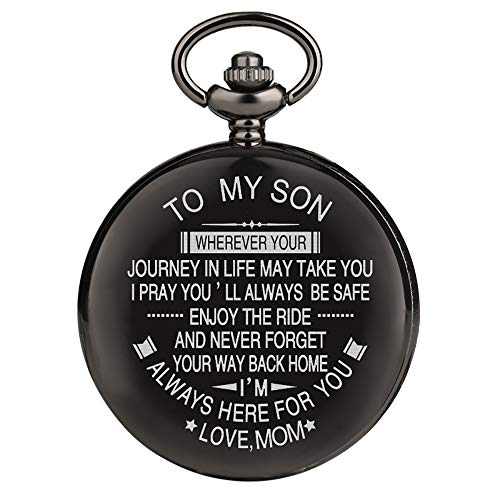 Engraved Pocket Watch for Men,Vintage Style Pocket Fob Watch Necklace Chain Quartz with Gifts Box, Perfect Graduation/Birthday Gift from a Mother/Father to Son (for Son from Mom)