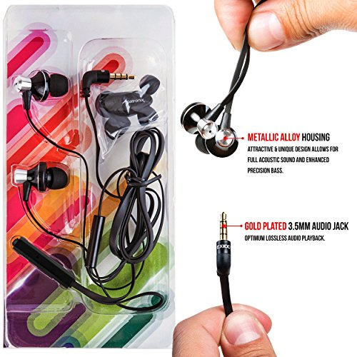Earbuds, Alpatronix EX100 Universal 1-Button High Performance Stereo In-Ear Headset with Built-in Mic, Tangle-Free Noise Isolating Earphones for Smartphones, Computers, Tablets & Laptops - (Black) by Alpatronix (Image #6)