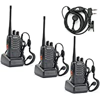 Elephant Xu888S Walkie Talkie 400-470 MHz Two Way Radio Rechargeable Long Range Headset Headphone with Built in Led Torch (Pack of 3)