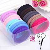 Black hair rubber band leather bead ring high elastic rubber ring hair tie tool ring swirl to send the rope for women girl lady