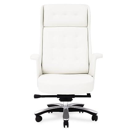 Etonnant Rockefeller Genuine Leather Aluminum Base High Back Executive Chair   White