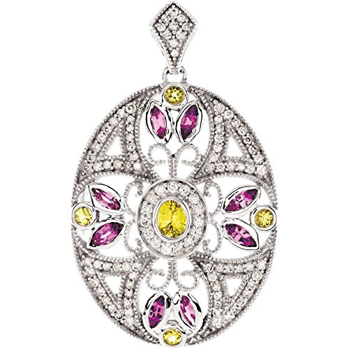 Jewels By Lux 14k White Gold Pink & Yellow Sapphire & 3/8 CTW Diamond Pendant