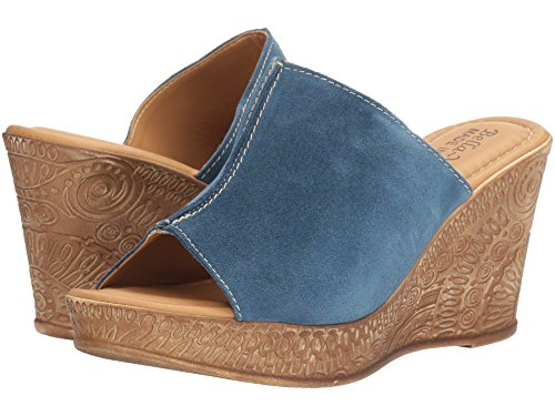 Bella Vita Womens Dax Leather Peep Toe Casual Mule Sandals, Blue, Size 8.0