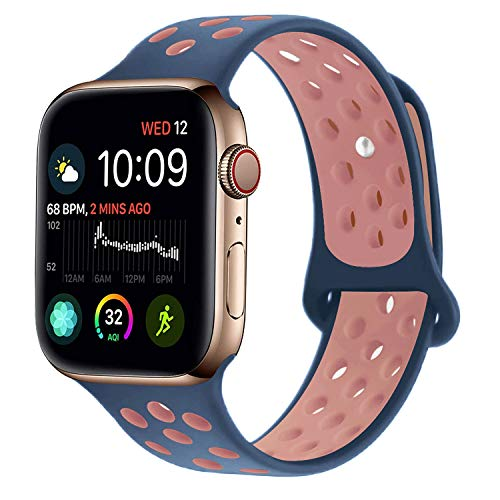 RUOQINI Compatible for Apple Watch 40MM, Dual-Color Soft Silicone Sport Replacement Band Compatible for Apple Watch Series 4 (M/L Size in Mindihgt Blue/Pink Color)