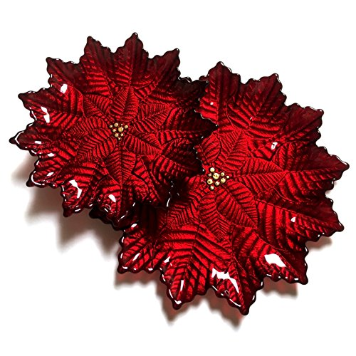 Red Pomegranate 1852-4 Poinsettia Salad Plate, Red Gold by Red Pomegranate (Image #1)