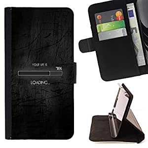 DEVIL CASE - FOR Samsung Galaxy S6 - Loading Life Funny Clever Internet Black - Style PU Leather Case Wallet Flip Stand Flap Closure Cover