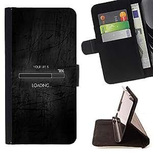 BullDog Case - FOR/Samsung Galaxy A3 / - / loading life funny clever internet black /- Monedero de cuero de la PU Llevar cubierta de la caja con el ID Credit Card Slots Flip funda de cuer