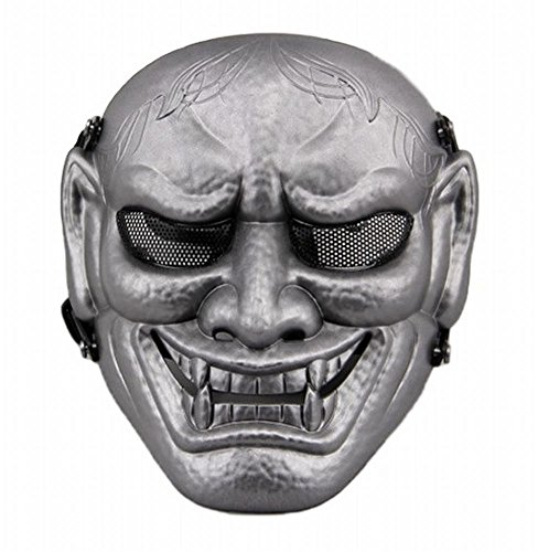[POJ Japanese Hannya Mask [ Color Gold / Silver / Red / Green ] Japan Cosplay (Silver)] (Halloween Little Dead Riding Hood Costume)