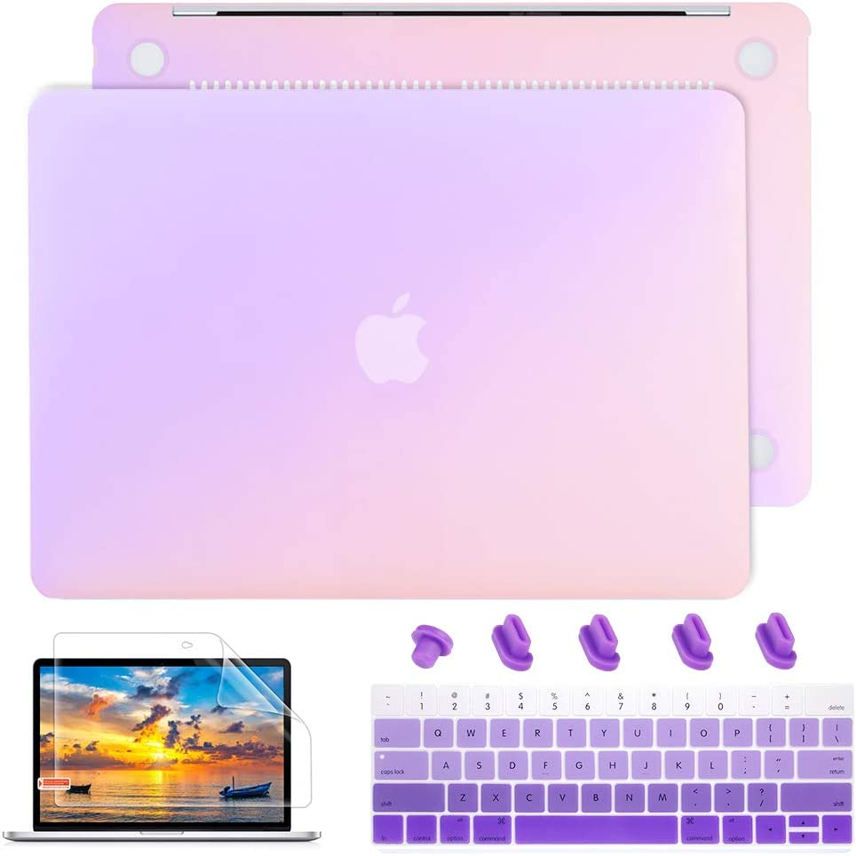 May Chen MacBook Air 13 Inch Case A1466 A1369 Old Version 2010 2017, Plastic Hard Shell case Keyboard Cover + Screen Protector + Dust Plug for Old Air 13 - Gradient Purple