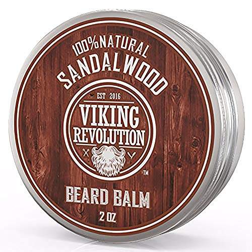 Beard Balm with Sandalwood Scent and Argan & Jojoba Oils - Styles, Strengthens & Softens Beards & Mustaches - Leave in Conditioner Wax for Men by Viking Revolution (1 Pack)