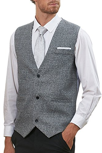 Hanayome Men's Double-Breasted Exclusive Fashion Fabrics Business Suit Vest VS64 (Grey, XL)