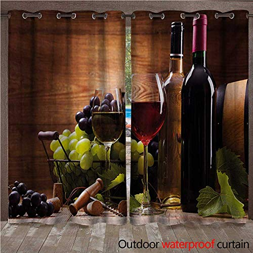 WilliamsDecor Wine Outdoor Ultraviolet Protective Curtains Glasses of Red and White Wine Served with Grapes French Gourmet Tasting W96 x L108(245cm x 274cm)