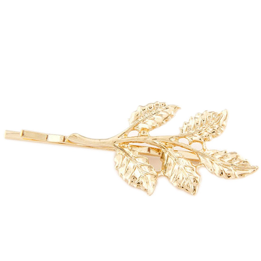 Fashion Lovely hojas Golden Metal Punk Hairpin Hair Pins Clips para las mujeres decoració n tres hojas CY-Buity