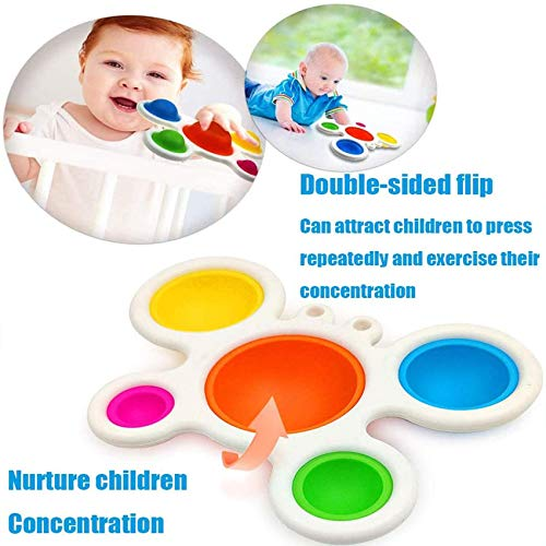 Baby Sensory Simple Dimple Toys & Gifts for Babies and Toddlers Ages 10 Months and Up, Multiple Colors Infant Early Education Intelligence Skills Development Attention Intensive Learning Toy (2Pcs)