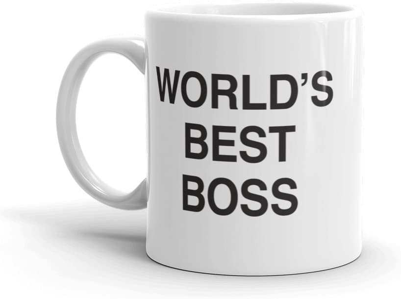 The Office World's Best Boss Dunder Mifflin Ceramic Mug, White 11 oz - Official Michael Scott Mug As Seen On The Office