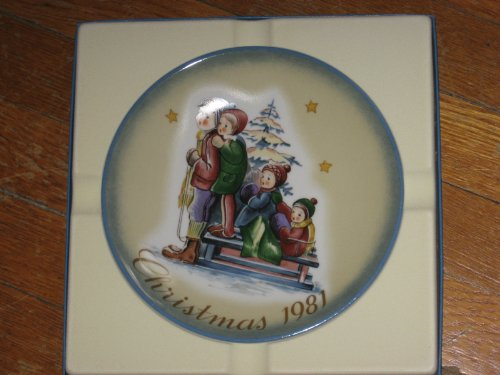 - Christmas 1981 A Time to Remember Collector Plate Schmid From the Life and Work of Berta Hummel, Christmas Collection, Display Collectible, red, ivory, blue, green, brown, yellow, pink