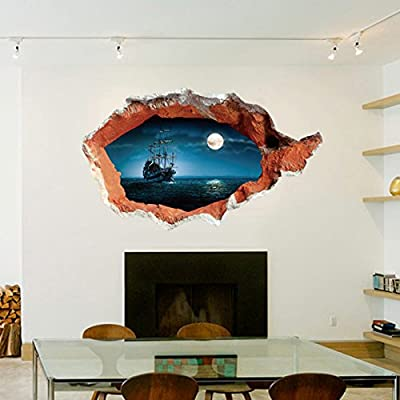3d Window Moon Ship Vinyl Wall Decal PVC Home Sticker House Paper Decoration Wallpaper Living Room Bedroom Kitchen Art Picture DIY Murals Kids Nursery Baby Decor