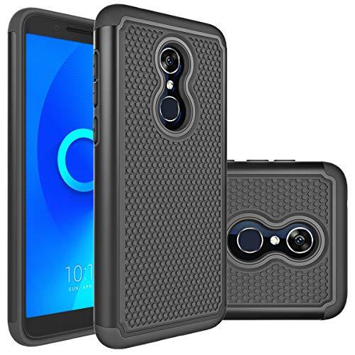 Revvl 2 Case (T-Mobile),Alcatel Revvl 2 (5052W) Case,Alcatel 3 Case Huness Durable Armor and Resilient Shock Absorption Case Cover for Alcatel 3,Revvl 2(T-Mobile) Phone (Black) ()