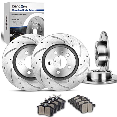 CENCORE Front & Rear Brake Kit Cross Drilled & Slotted 4 Brake Rotors & 8 Ceramic Brake Pads Compatible with 1999-2005 Volkswagen Jetta 1999-2006 2008-2010 Volkswagen Golf 1999-2011 Volkswagen - Turbo Brake Beetle Pad