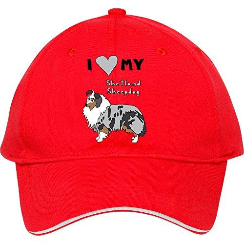 Adjustable I Heart My Shetland Sheepdog Red Cotton Baseball Cap Snapback Hat Sport Snapback Male/female (Baseballs For Shetland)