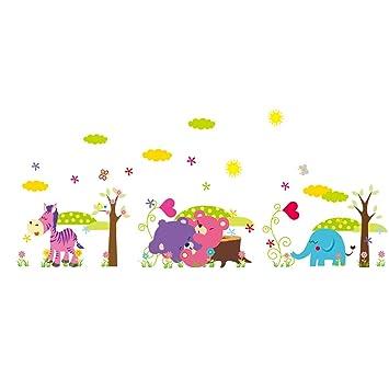 Vinilos De Caballos Infantiles.Ufengke Vinilos Infantiles Caballo Oso Elefante Pegatinas Decorativas Pared Adhesivos Decorativos Para Habitaciones Bebe Salon