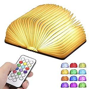 Livre Lampe Pliante, Tomshine Livre Lumineux Bois, 12 couleurs RGB, Télécommande/Timing/Flash Mode, 5 Niveau de…
