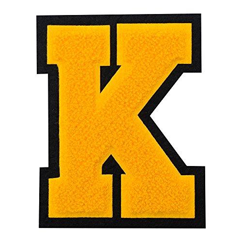 K - Gold on Black - 4 1/2 Inch Heat Seal/Sew On Chenille Varsity Letter