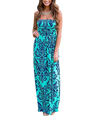 YIHUAN Womens Strapless Wrapped Chest Floral Print Party Maxi Dress