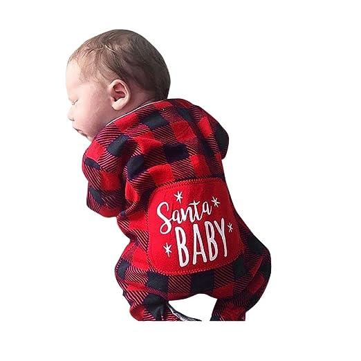 f1a115ff2ad2 SUNBIBE👻Infant Baby Boy Girl Clothes Long Sleeve Plaid Santa Baby Romper  Christmas Pajamas Set