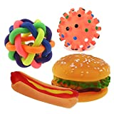 VICTORY,4 Pcs Pet Dog Natural Rubber Chew and Fetch Squeak Squeaker Chew Toss Toy Cute Expression Bite Wonderful Colors Bell Ball/Sea Urchins/Hot Dog/Hamburger For Sale