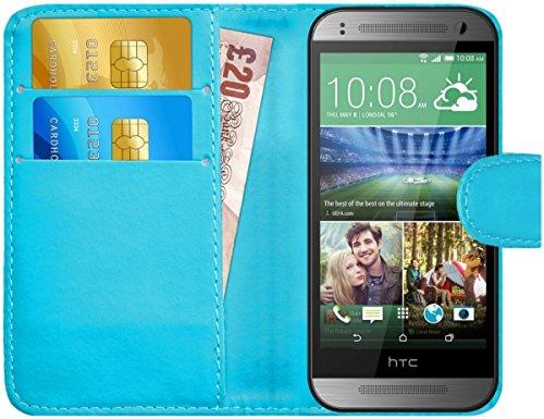 [해외]G 쉴드 케이스 HTC 원 미니 2 가죽 지갑 커버 카드 슬롯 라이트 블루 / G-Shield Case for HTC One Mini 2 Leather Wallet Cover with Card Slots Light Blue