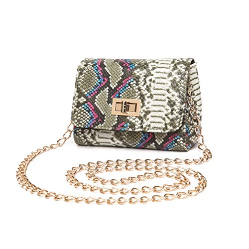 Aitbags Snakeskin Crossbody Bag Mini Purse for Women Girls Cute Shoulder Bag with Chain Strap
