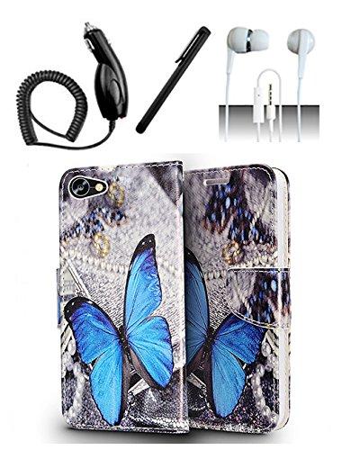 Alcatel PulseMix A50 Crave Case [Shoparound168] Blue Butterfly Design Wallet Magnetic Flip Flap Pouch Cover + Car Charger + Stylus Pen + 3.5mm Earphone (Blue Butterfly) ()