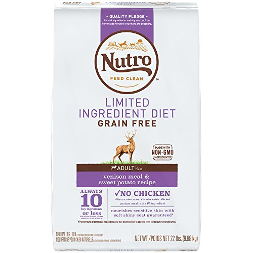 NUTRO Limited Ingredient Diet Adult Venison Meal & Sweet Potato Recipe Grain Free Dog Food (1) 22-lb. , 10 Key Ingredients or Less Plus Natural Flavors, Vitamins, Minerals and Other Nutrients by Nutro