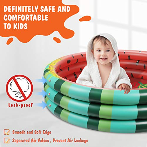 Inflatable Kiddie Pool, Extra Large Baby Pool Summer Watermelon Kids Swimming Pools to Replace Backyard Pool Inflatable Water Pool for Kids Indoor&Outdoor(49''x12'')
