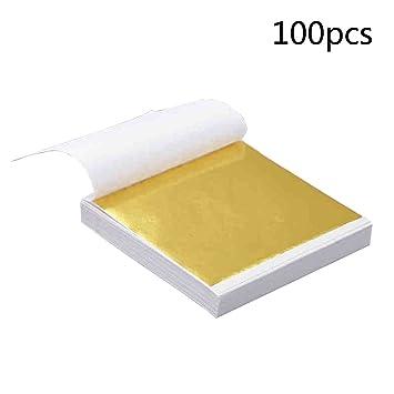 Imit. Blattmetall Schlagmetall 4,8 x 4,8 cm zum Vergolden 100 Blatt Blattgold