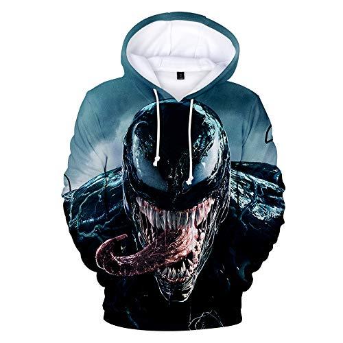 Unisex 7 3d Adolescenti Uomo Cappuccio Con Stampato Coulisse Arte Tasche Maniche Venom Felpe Ponticelli Per Lunghe nq4IBB