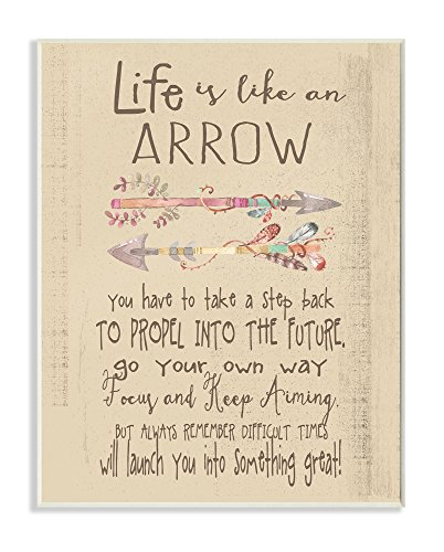 Stupell Home Décor Life is Like an Arrow' Icon Inspirational Typography Wall Plaque Art, 10 x 0.5 x 15, Proudly Made in USA Life Like Home Accent