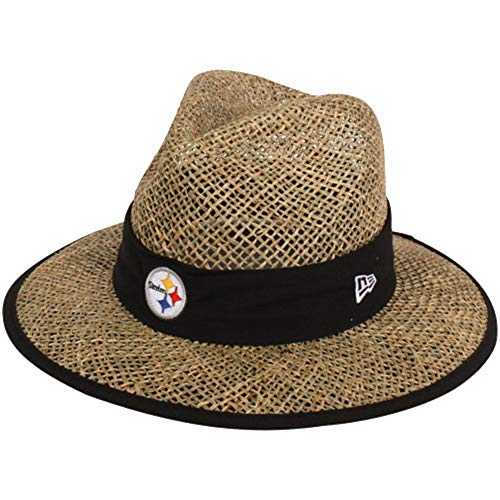 (New Era Men's Pittsburgh Steelers Natural On Field Training Camp Hat Straw Size One Size)
