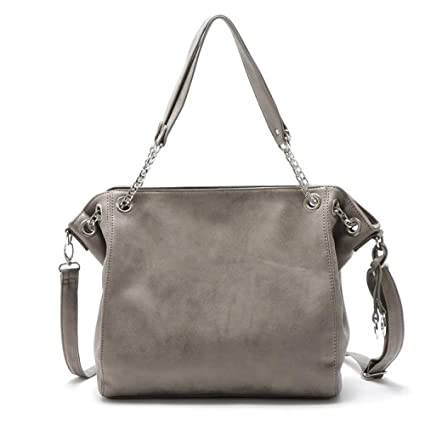 0d243d9163ee Amazon.com: GMYANDJB Fashion Grey Women Leather Handbag Designer ...